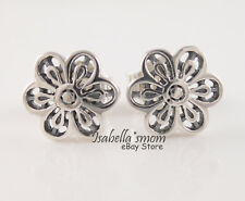 FLORAL DAISY LACE Authentic PANDORA Silver FLOWER Earring Studs 290692 NEW w BOX