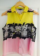 TOP SHOP WOMENS TOP BUTTON FRONT FLORAL SLEEVELESS TOP SZ 10
