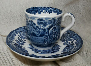 Royal Worcester Palissy 1790 Avon Scenes Blue and White China Cup & Saucer
