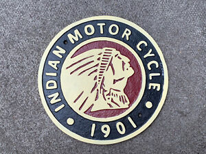 Large Cast Iron Indian Motor Cycle Sign Garage Man Cave Wall Plaque 25cm