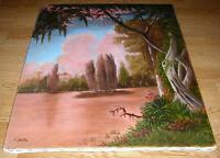 NATURE GARDEN TOPIARY BOTANICAL TREES CUMULUS CLOUDS CLIMBING VINE POND PAINTING