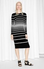& Other Stories Black & White Striped Fitted Jersey Dress Size EU 34 UK 8 US 4