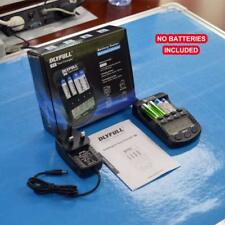 Smart AA and AAA Battery Charger with LCD Display, 4 Bays Speedy Charger with AC