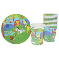 10x Jungle animal paper plates disposable paper cups for kids birthday party cn