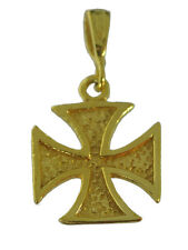 24K Gold pltd over Sterling Silver Powerful Maltese cross Symbol Heroic Charm