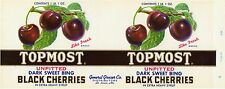 VINTAGE CAN LABEL 1950S ST LOUIS MISSOURI TOPMOST BLACK CHERRY CHERRIES ORIGINAL
