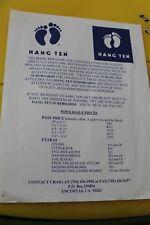 Hang Ten Surfboards Vintage Surfing Footprints Price List 1998 8.5x11in. Poster