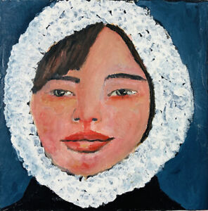 Original Acrylic Portrait Painting White Winter Coat Katie Jeanne Wood