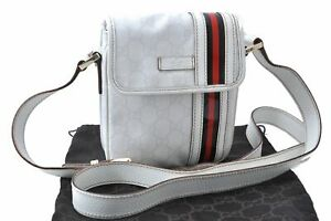 Auth GUCCI Sherry Line Shoulder Cross Body Bag GG PVC Leather 147668 White D4387