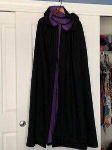 Vintage Heavy Black Medieval Renaissance Hooded Cloak Cape Cosplay Purple Lined