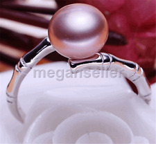 genuine natural 9-10mm freshwater Pearl 925 Sterling silver Adjustable ring