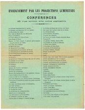 ENSEIGNEMENT PAR LES PROJECTIONS vers 1900 / lanterne magique magic lantern