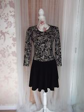 Millex Size 8 Ladies Black Mix Skater Dress