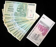 11 Zimbabwe Banknotes-10 x 50 million Dollars + 1 Dollar-paper money currency