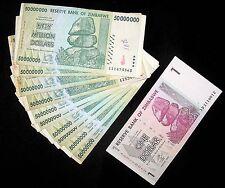 11 Zimbabwe Banknotes-10 x 50 million Dollars + 1 Dollar-paper money currency