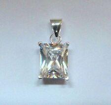 argento sterling piccolo taglio a SMERALDO CIONDOLO ZIRCONIA CUBICA