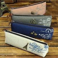 Vintage Canvas Paris Pen Pencil Case Coin Purse Pouch Zipper Bag Cosmetic Makeup