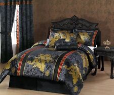 7-Pc Palace Dragon Jacquard Comforter Set Bed-In-A-Bag Cal King Black/Gold/Red