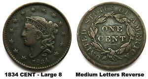 1834 LARGE CENT Large 8  & Medium Letters Reverse