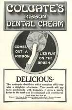 1909 Colgate Ribbon Dental Cream Lies Flat On The Brush Ad