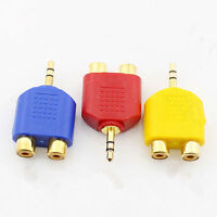 3.5mm Stereo Audio Male to dual RCA female Y Splitter Gold Plated Adapter
