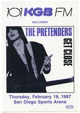 THE PRETENDERS 1987 Get Close Concert Tour Backstage Pass!!! Authentic OTTO