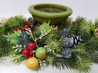 1970s Plastic Greenery Candle Ring w/ Green Ceramic Scroll Candle Holder