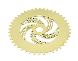 """Bicycle Triple Twisted Chainring Sprocket 1/8"""" x 44T Gold Cruiser Lowrider Bike"""