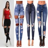 New Womens Ladies Celeb Stretch Ripped Skinny High Waisted Denim Pants Jeans UK
