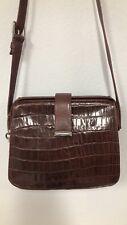 FOSSIL Real Crocodile Leather Brown Women Crossbody Long belt Vintage bag