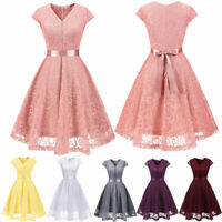 Women's Floral Lace V-neck Bridesmaid Dress Cap Sleeves Cocktail Swing Dresses