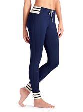 NWT Athleta Striped Varsity Pant, Dress Blue, LARGE (L), Fleecy, Wicks, Cozy $84