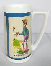 "Vintage 1970's Golfer's Comic Plastic Thermal Mug By Thermo-Serv 6 3/8"""