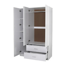 Big Size Utility Robe Wardrobe with Mirror, 3 Door 2 Drawer - White