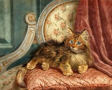 Cute kitten Oil Painting Giclee Art Printed on canvas 16X20 inches L2112