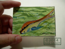 Original ACEO Miniature PAINTING Artist Signed Cathy Peterson = Koi Fish 2014