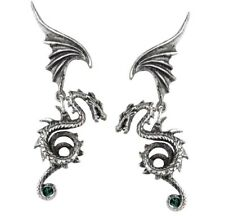 Bestia Regalis Dragon & Wings Earrings Emerald Crystals Alchemy Gothic E286