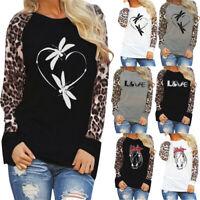 Women's Casual Leopard Blouse Long Sleeve Fashion Ladies T-Shirt Oversize Tops