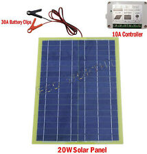 20W Portable Epoxy Solar Panel Kit for Car Camping Adventure 12V Battery Charger