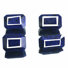 602 Cts/4 Pcs Natural Royal Blue Sapphire Faceted Cut Gemstones Lot ~ 36mm-41mm
