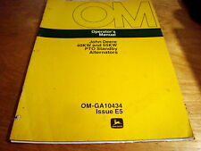 John Deere 40kw 55kw PTO Standby Alternator Operator's Manual Book JD