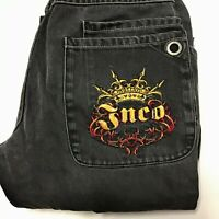 Vintage 90s JNCO black faded jeans boys 18 or mens 30x27 wide leg crown logo