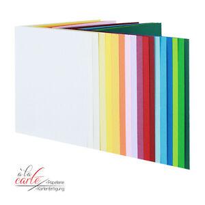 50 Blankokarten Klappkarten Faltkarten DIN B 6 Hochformat 160 g in 19 Farben