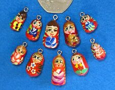 Hand made lot 10 RED BURGUNDY ORANGE Babushka Charm Beads RUSSIAN DOLL Bracelet