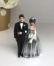 Vintage Wilton Silver Anniversary Wedding Cake Topper Couple Small Figure 3.5""
