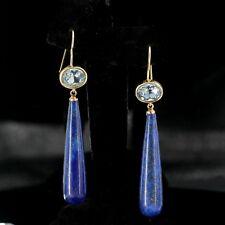 orecchini Dorato Ovale Cristallo Blu Goccia Lungo Lapislazzuli Semplice QD3