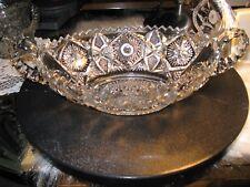 NUCUT Vintage Antique EAPG Clear Cut Glass Oval Bowl