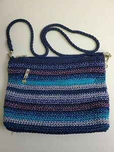 The Sak Casual Classic Crochet Crossbody Stripe Handbag Navy Blues Purples