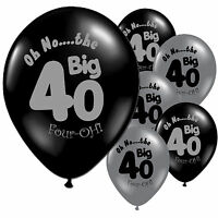 """10 Black Silver 40th Birthday Party 11"""" Pearlised Latex Printed Balloons"""
