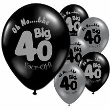 "10 Black Silver 40th Birthday Party 11"" Pearlised Latex Printed Balloons"